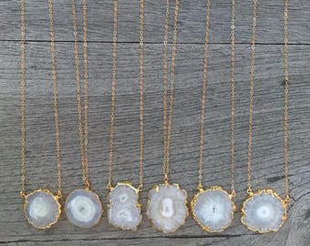 Solar Quartz Gold Necklace // Solar Quartz Necklace