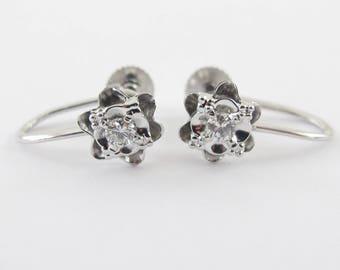 14k White Gold Diamond Huggie Earrings  - Flower Design Diamond Earrings Screw Back