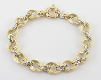"18K Yellow And White Gold Braided Rolo Link Toggle Lock Bracelet 7 3/4 "" 14 grams"