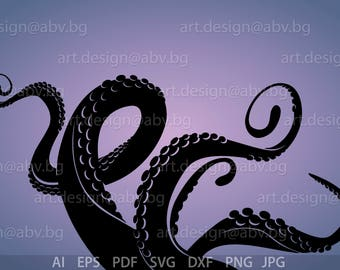 Vector OCTOPUS TENTACLES, devil-fish, AI, eps, pdf, svg, dxf, png, jpg Image Graphic Digital Download Artwork, graphical, discount coupons