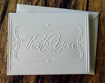 Thank You Card Set of 5, Wedding Thank You Cards, Graduation Thank You Cards, Blank Thank You Note Cards, Embossed Christmas Thank You Cards