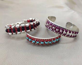 Silver hoop Bracelet, Handmade bracelet, Turquoise red silver beads, summer jewelry, Adjustable bracelet, Macrame yarns woven, braided