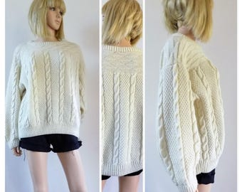 Vintagewomans cream aran sweater womans hand knitted French cable jumper pullover oversized sweater size medium see measurements