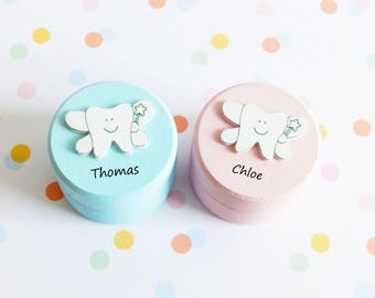 Tooth Fairy Wooden box/personalised box/hand painted box/customised box/tooth box/pinewood box/toothfairy box