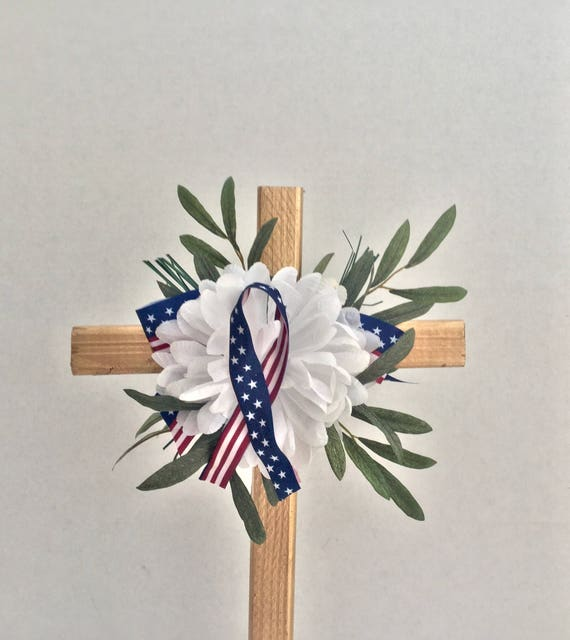 Patriotic Cemetery flowers , red white blue Cemetery Cross,  veteran memorial Cross,