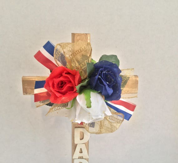 Patriotic cemetery cross, Cemetery flowers, grave decoration, flowered cross, Dad cemetery