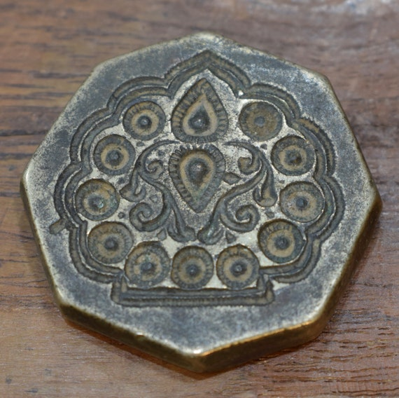 Vintage Bronze Detailed Tribal Middle Eastern Kuchi Jewelry Stamp Die Mold