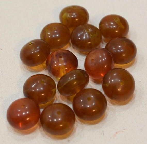 Beads Honey Amber Resin Rondelles Vintage Beads 14mm