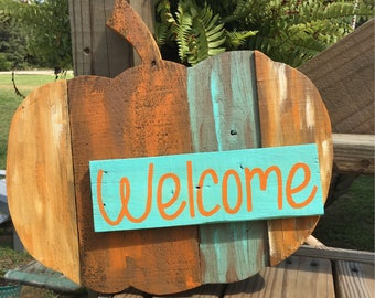 Fall Welcome Sign - Pumpkin Welcome Sign - Wooden Pumpkin - Rustic Pumpkin Decor - Fall Door Hanger - Thanksgiving Decor - Fall Porch Sign