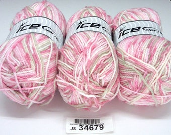 3 Skeins Ice Junior Magic Pink Shades Variegated Yarn 3.5 Oz. / 284 Yards Each Premium Acrylic 3 DK/Light Worsted