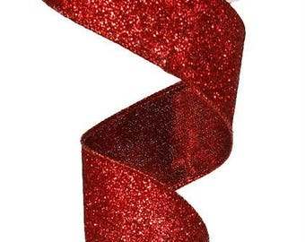 "1.5"" red glitter ribbon, 1.5"" glitter metallic red ribbon, 1.5"" red glitter wired ribbon RJ403024"