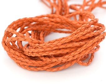 Faux leather 3 mm round braided cord