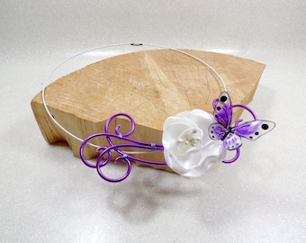 Wedding white and Purple Butterfly Necklace