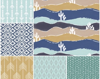 Custom Crib Bedding Set, Made to Order with a boho feel that includes cactus, arrows and other Aztec prints