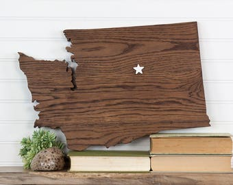 Washington state shape wood cutout sign wall art sign with star or heart. Repurposed Oak flooring 12x18 in. Country Cabin Rustic Gift Decor