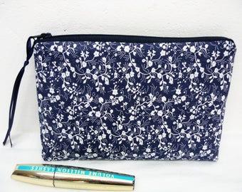 Make-up fabric blue, white flowers Kit, zipper pouch for women