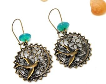 Green Pearl bronze bird earrings