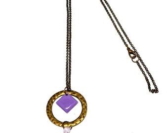 Necklace bronze hammered circle, purple tassel and purple enamel charm