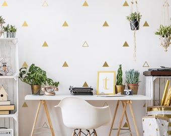 Triangle Wall Decals - Gold Triangle Wall Decal Set, Vinyl Wall Decals, Silver Decals, Metallic Decals, Gold Decor, Geometric Wall Decals