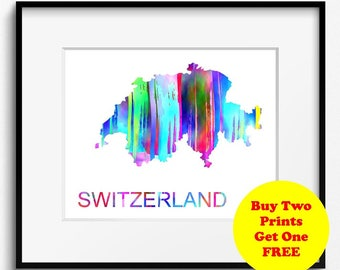 Switzerland Watercolor Map Art Print (531) Europe