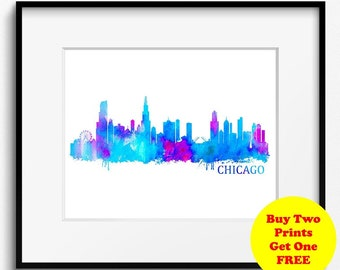 Chicago Skyline Watercolor Art Print (415) Chicago Cityscape, Chicago Watercolor, Abstract Art Print, USA Art Print, Illinois Art Print