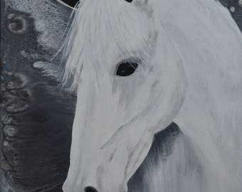 "ELEGANCE.....Original Horse Painting,White Painting,White horsePainting,horses head,Large Wall Art, 24x18"""