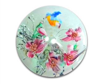 Glass WHISTLE Paperweight Button Blue Bird & Cherry Blossoms