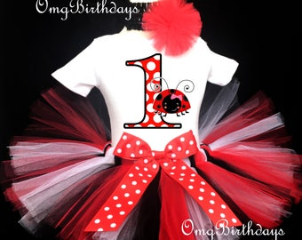 Fast Shipping - Birthday Ladybug Lady Bug Red Black White Number One Polka Dots first 1st Shirt & Tutu Set Girl Baby Outfit Party Headband