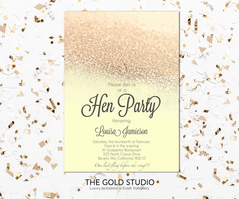 Rose Gold Hen Weekend Invitation | Modern Elegant Hen Party ...