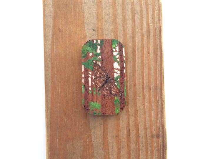 Rest / tiny original painting + purography / wood art / moth art