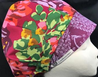 Eternal Sunshine Surgical Cap Scrub Hats Medical Nurse Tech Surgeon Surgery Caps Bonnet OR Bouffant Purple Red Amy Butler LoveNstitchies
