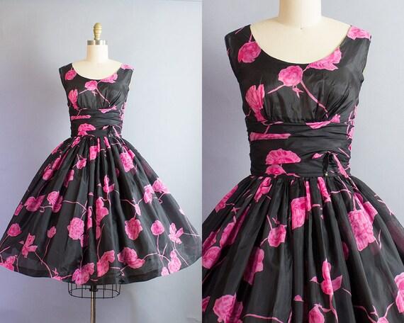 1950s Rose Print Dress/ Small (35b/26w)