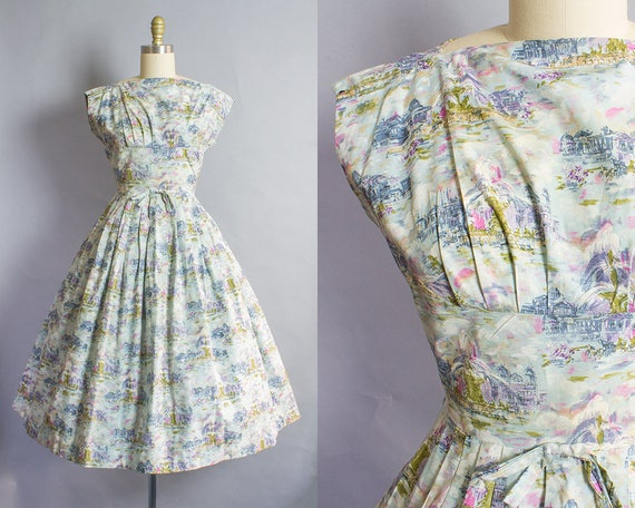 1950s Paris Place de la Concorde Fountain Novelty Print Dress/ Small (35B/26W)