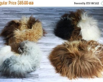 ON SALE Pet Pouf | Real Icelandic Sheepskin Fur Pet Bed for Cats & Dogs |  Round Pet Bed | Cat Bed | Dog Bed | Shaggy Pet Bed