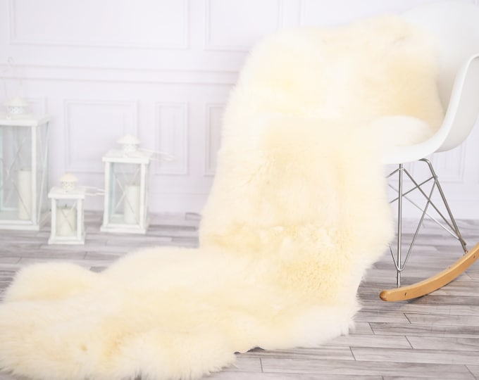 Double Sheepskin Rug | Long rug | Shaggy Rug | Chair Cover | Runner Rug | Ivory Rug  | Beige Sheepskin
