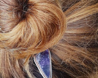 Hairpin Amethyst / Copper / BOHO / Wedding / Minimal / Cute / Gift / Silver / Gemstone / Jewelry / Hair / Amethist / Gypset / Bun Pin Purple