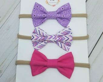 Pink and purple nylon headband set - baby headbands set - purple floral bow - chevron bow - hot pink bow - nylon headbands - baby bow set