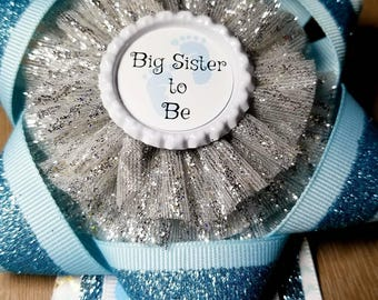 Blue Big sister to be babyshower pin
