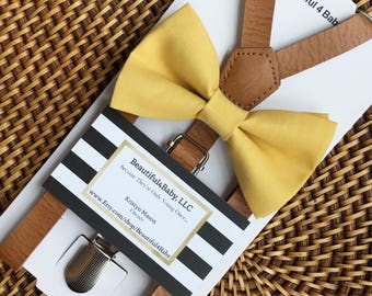 Light Mustard Bow Tie & Suspenders, Baby Bow Tie, Mustard Baby Bow Tie, Yellow Baby Bow Tie Leather Suspender Set- 6 Mo-5yrs