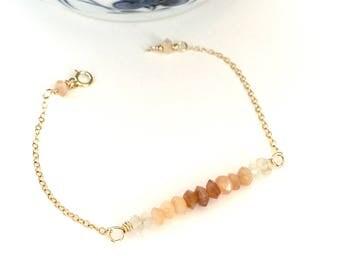 Dainty Moonstone Bar Bracelet