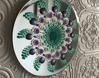 Round Glass Mirror Disk Teal Turquoise Purple Dot Mandala Wall Hanging Home Decor