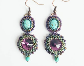 Purple earrings, turquoise earrings, Swarovski earrings, gemstone earrings, bead embroidery, victorian, birthday gift, beaded earrings.