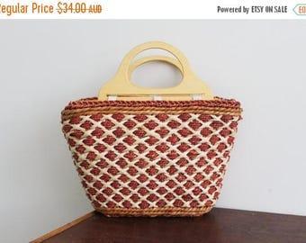 SALE Vintage Burnt Orange Brown Woven Jute Sisal Straw Market Tote Bag