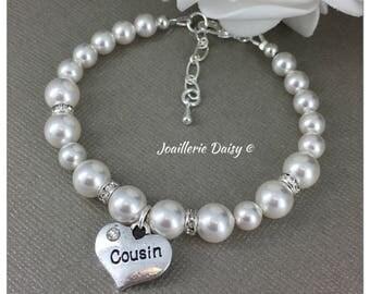 Cousin Bracelet Cousin Gift Swarovski Bracelet Bracelet for Cousin Birthday Bridal Party Gift Idea Wedding Jewelry Thank You Gift for Her