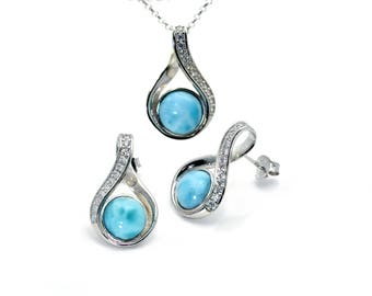 Larimar. Beautiful Earrings and Necklace Set White Sapphire .925 Sterling Silver
