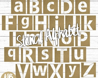 STENCIL alphabet, Printable pdf, uppercase stencils, lowercase stencils, digital alphabet set, printable stencils, instant download