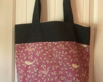 Pink & gray two tone reusable eco tote bag