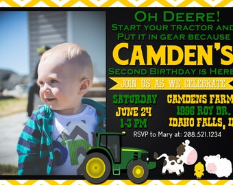 John Deere Birthday Invitation//Oh Deere Birthday//Matching Thank You Cards