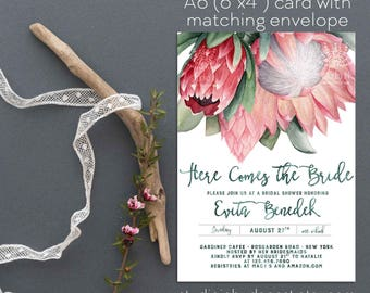 Protea Bridal Shower invitation, Bachelorette party invitation, Watercolor Bridal shower, wedding shower invitation, Protea bridal shower