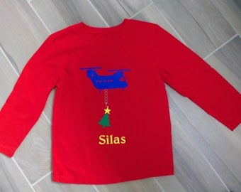 Helicopter Christmas Tree Boys Shirt Personalized with Name - Colors Costomizeable